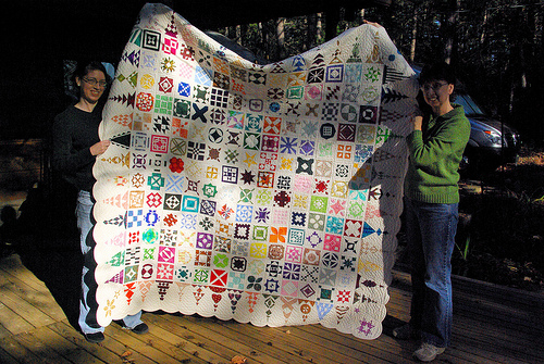 Melanie and I with THE QUILT