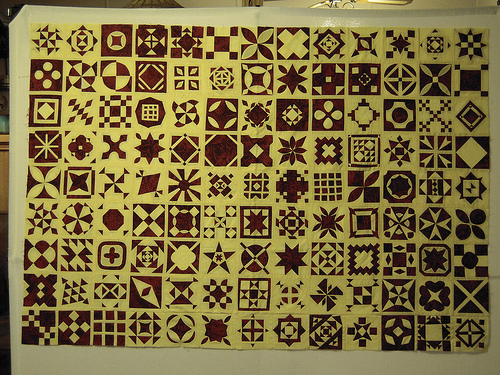 Here are the nine rows put together.  In this photo the buttercream batik looks a little more yellow than it is.  I tried to edit the color but couldn't quite get it right.  I will need to work on that.  You can go back to earlier post if you want to see the color better.  It is lighter than that (not so yellow)