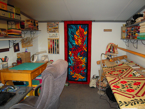 An over view of my skinny long sewing room :)