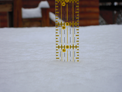 The snow measures at six and a half inches.