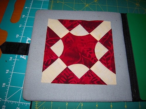 This is block 3 from Row 10, it was a very easy block to make.  The curves are done with reverse applique.