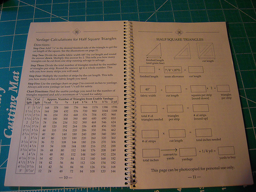 An example of the inside pages.  This book gives you information and measurements.  How big do you need to cut a piece of fabric to make a 3 inch half square triangle?  The book tells you.  Run your finger down the column of numbers and you will find what you need.  Anything from figuring out how much the fabric will cost to make you quilt to hst's and borders, how to cut and measure for quilt backs, calculate yardage for squares.  You name it the little book has it.  I really think it is one of the handiest books on my shelf - in fact I don't even keep it on my book shelf among the other books I have it on the shelf right above my cutting table where I can access it easily and always know where it is!