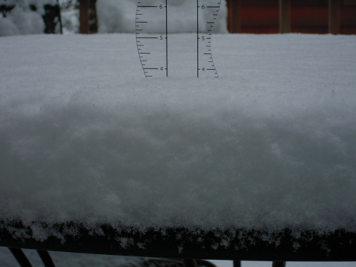 The last time I measured the snow I used one of my sewing rulers that is a little confusing and not clear and concise.  I pulled out a different one (wavy edge) and it has the numbers marked really well.  Just a tad over 3 1/2 inches right now.