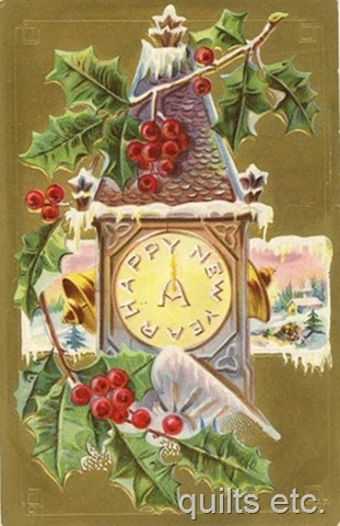free-vintage-happy-new-year-cards-clock-tower-holly-snow-bells